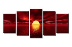 Wieco Art  Red Sun Modern 5 Piece Wrapped Landscape Giclee Canvas Prints Artwork Ocean Sea Beach Pictures Paintings on Canvas Wall Art for Living Room Bedroom Home Decorations *** For more information, visit image link.