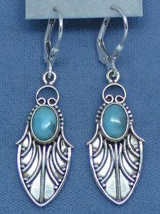 Genuine Larimar Earrings - Leverback - Sterling Silver - Leaf - Island - Dragonfly Wing - Long Dangles - Handmade - 141708