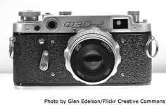"""Russian and Soviet cameras: """"Fed"""". Produced in Ukraine ('limited edition' units were supplied to Stalin's secret police)."""
