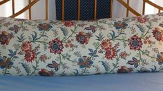 Body pillow cover-Contemporary interpretation of a traditional print by Waverly in red, white, blue & yellow.. $28.00, via Etsy.