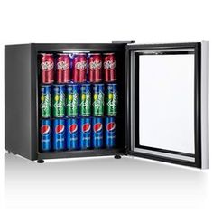 Costway 60 Can Beverage Refrigerator and Cooler Mini Fridge with Glass Door for Soda Beer or Wine Small Drink Dispenser Machine for Office or Bar Can)
