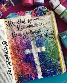 """Several weeks ago I had a vision of this to Bible Journal & made myself a note next to my bed to remember it. Went to church & was blown away when it was the theme of Easter! So it """"had"""" to be in my Bible! Goodness I just love Jesus & the way He works. I've been doing lots of reflecting today on just how much he loves me back. His love is boundless. He gave it all for me. For you. Right where we are. How incredibly humbling to think about. Oh what a Savior. #bibleartjournaling…"""
