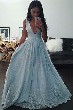 Blue Prom Dresses #BluePromDresses, Prom Dresses Long #PromDressesLong, Prom Dresses A-Line #PromDressesALine, Lace Prom Dresses #LacePromDresses, Light Blue Prom Dresses #LightBluePromDresses