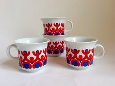 Vintage German Coffee Cups White, Red & Blue Happy People Kahla GDR / DDR by DankeVintage Berlin on Gourmly