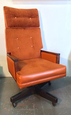 LARGE High Back Orange Velour Mid Century by OffCenterModern