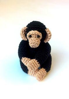 Crochet chimpanzee, crochet amigurumi monkey