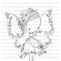 Flower Fairy by alldressedupstamps on Etsy