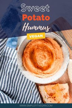 Super easy Sweet Potato Hummus recipe that takes 5 minutes to make from start to finish! No need to roast sweet potatoes! #sweetpotato #hummus #veganappetizer High Protein Vegan Snacks, Vegan Snacks On The Go, Vegan Finger Foods, Sweet Potato Hummus, Vegan Recipes, Snack Recipes, Hummus Recipe, Vegan Appetizers, Quick Snacks