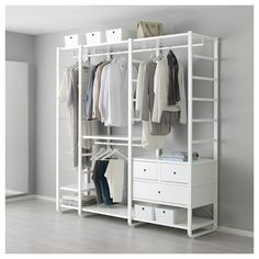 Find side unit combinations for your ELVARLI closet system at IKEA. Open Wardrobe, Wardrobe Storage, Closet Storage, Bedroom Storage, Wardrobe Wall, Wardrobe Ideas, Closet Organization, Organization Ideas, Ikea Closet Organizer