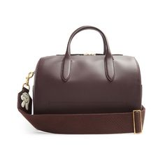 Anya Hindmarch Vere Barrel leather bag (4.595 BRL) ❤ liked on Polyvore featuring bags, handbags, shoulder bags, burgundy, burgundy purse, leather barrel bag, burgundy handbags, burgundy leather handbags and burgundy leather purse