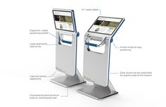 A touchscreen media kiosk developed for museum patron interaction and information display. The screen angle is adjustable to allow for users of all heights.