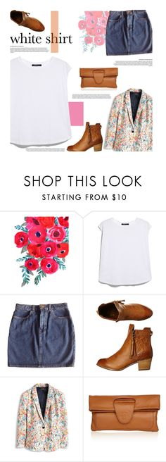 """""""White shirt:: Gone floral"""" by sweetestdreamer ❤ liked on Polyvore featuring MANGO, American Apparel, Billabong and Nadia Minkoff"""