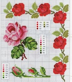 The most beautiful cross-stitch pattern - Knitting, Crochet Love Easy Cross Stitch Patterns, Cross Stitch Borders, Simple Cross Stitch, Cross Stitch Rose, Cross Stitch Flowers, Modern Cross Stitch, Cross Stitch Charts, Cross Stitch Designs, Cross Stitching