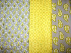 Grey & Yellow Fabric by PurplePaisleyPatch, via Flickr