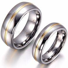Damen Herren Ehering - Wolframcarbid, gläzend, Rille/Goldstreifen in der Mitte