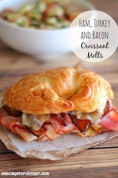 Ham, Turkey and Bacon Croissant Melts add an egg and it would be a tasty breakfast sandwichYum! Ham, Turkey and Bacon Croissant Melts add an egg and it would be a tasty breakfast sandwich Soup And Sandwich, Croissant Sandwich, Sandwiches For Dinner, Hot Sandwich Recipes, Croissant Breakfast Sandwich, Ham And Cheese Croissant, Turkey Sandwiches, Breakfast Sandwiches, Breakfast Pizza