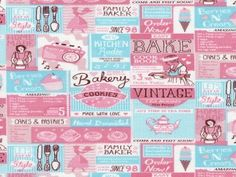 Timeless Treasures Vintage Baking Ads Poplin Quilting Fabric | Fabric | Quilting Fabrics | Minerva Crafts