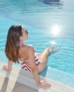 You'll find me at the pool!  #holidayspam #poolside #summergirl #summerbody #relaxtime #switchoff #white and red swimsuit, shein, pool time