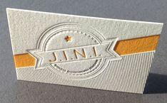 Blind debossed letterpress business card by Saskia Schnell