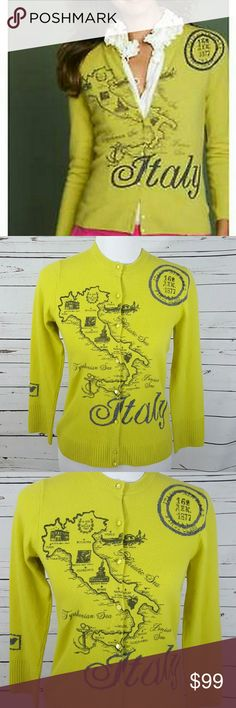 Rare J Crew Map of Italy Sweater Cashmere Blend Rare, hard to find (sweaters were made by J Crew in limited quantities) J Crew Map of Italy Wool/Cashmere blend cardigan sweater.  Size Medium.  Fits more like a small.  Color is a hue of yellow/lime green with black and gray map markings.  Chest measures approximately 17 inches.  Length from shoulder to hem is approximately 21.5 inches.  Preowned.  Own a statement piece of clothing and show pride in your heritage or love for Italy!  A well…