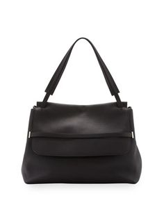 Grained Top-Handle Medium Satchel Bag, Black by THE ROW at Neiman Marcus.