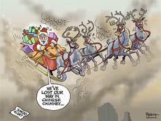 Santa Claus in China, Paresh Nath,The Khaleej Times, UAE,Santa Claus, China smog, pollution, Chinese chimney, climate change, global warming, smog alert