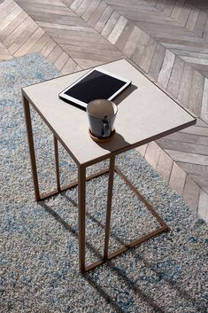 Ceramic top tall side table with metal frame. Tv Stand Sideboard, Console Table, Tall Side Table, Coffee Table Metal Frame, Tall Bed, Leather Bed, Living Room Tv, Sofa Design, Modern Bedroom