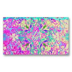 Teal Pink Vibrant Swirl Abstract Girly Collage Business Card Templates | Pretty Business Cards