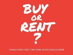 A simple template for first-time buyers. 'Buy or Rent?' written in white on a bright red background. Real Estate One, First Time Home Buyers, Red Background, Social Media, Templates, Writing, Bright, Simple, Design
