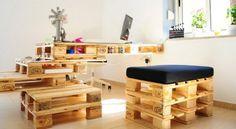 meuble en palette en bois bureau chaise sympa