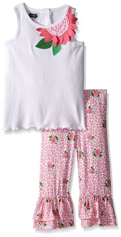 Mud Pie Rose 2-Piece Set, Multi, 2T. Comes with printed leggings with double ruffles at ankles.