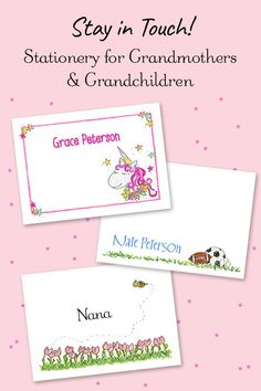 Stationery and Thank You Notes for Children & Adults - Page 1 Kids Stationery, Personalized Stationery, Personalized Gifts, Monkey Girl, Grandmother Gifts, Pink Butterfly, Book Girl, Thank You Notes, Office Organization