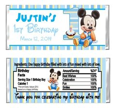 Mickey Mouse First Birthday Candy Wrappers Party Favors Personalized | cutecreationsshoppe - Accessories on ArtFire