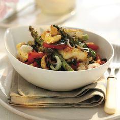 szechuan-glazed tofu with asparagus & cashew stirfry