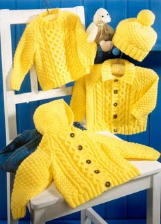 Baby Aran Hooded Jacket Collared Jacket & Sweater in DK 8 ply for sizes 16 - 26 Inches -  PDF of Vintage Knitting pattern - Instant Download