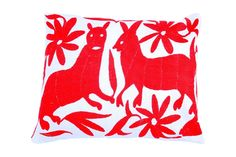 Red Hand-woven Otomi Pillow Cover on Chairish.com