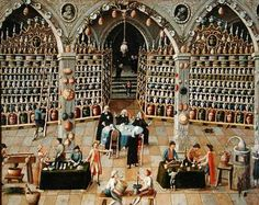 French School, Examination of an apothecary, early 18th century