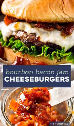 The only thing better than a juicy cheeseburger on a toasted bun, is a juicy cheeseburger topped with homemade bourbon bacon jam! Regular condiments are a thing of the past! #baconjam #cheeseburger #grilling #baconcheeseburgers #bourbon Jam Recipes, Burger Recipes, Grilling Recipes, Beef Recipes, Dinner Recipes, Cooking Recipes, Dinner Ideas, Recipies, Savoury Recipes