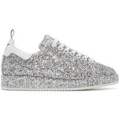 Golden Goose Silver Glitter Starter Sneakers (25.725 RUB) ❤ liked on Polyvore featuring shoes, sneakers, silver, silver trainers, round toe sneakers, golden goose sneakers, glitter sneakers and rubber sole shoes