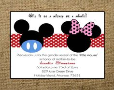 PRINTABLE Mickey Mouse or Minnie Mouse Gender Reveal Baby Shower or Birthday invitation or Twins Invitation. $15.00, via Etsy.