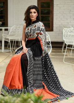 Unique hand painted madhubani painted saree with ikat border and chanderi combination