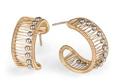 Kinetic Hoops & Cuff with Ball Beads by Tana Acton (Gold & Silver Jewelry) | Artful Home