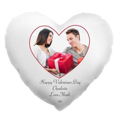 Valentine's Day Heart Shaped Personalised Photo Cushion - a great gift for the one you love this Valentine's Day | The Gift Experience