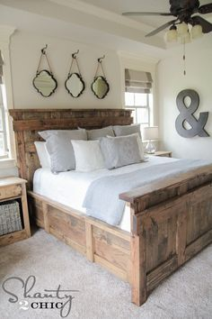18 Rustic Master Bedroom Decor Ideas (that will invite you in A inspiring round up filled with gorgeous and trending ideas to decorate your bedroom. Check out these 18 Rustic Master Bedroom Decor Ideas. Farmhouse Master Bedroom, Master Bedroom Design, Home Bedroom, Bedroom Ideas, Bedroom Rustic, Headboard Ideas, Master Bedrooms, Headboards, Bedroom Decorating Ideas