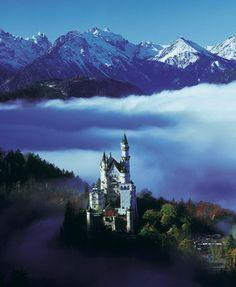 Mist in Neuschwanstein Castle, Bavaria, Germany