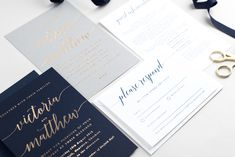 Navy and grey gold foil wedding stationery by Project Pretty Foil Wedding Stationery, Luxury Wedding Invitations, Grey And Gold, Gold Foil, Paper Goods, Personalized Items, Navy, Pretty, Projects