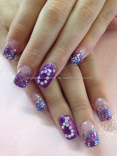 Purple, teal and pink glitter acrylic fade with crystal `J` prom nails