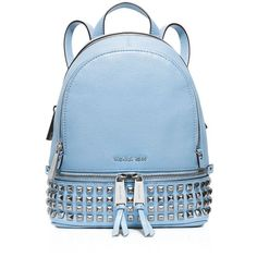 Michael Michael Kors Extra Small Rhea Zip Studded Backpack ($328) ❤ liked on Polyvore featuring bags, backpacks, rucksack bag, mini bag, blue studded bag, miniature backpack and zipper bag