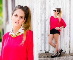 ★ LOOK OF THE DAY 16-10-2013 ★  · Sweater Besos · Camisa Dogs  · Collar Palermo   · Mini Short Negro  · La Gold Sandals   ------------------------------------------------------  · Red Kisses Sweater  · Dogs Shirt · Palermo Golden Necklace  · High Waisted Black Mini Short  · Gold La Sandals