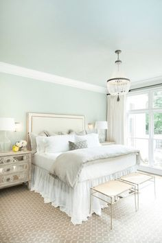 seafoam green bedroom, mint green, ivory accents, white trim, tan carpet, sherwin williams mountain air